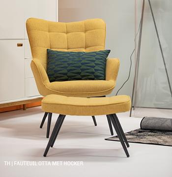 fauteuil Otta met hocker #retro #stoel #voetenbank #trendhopper